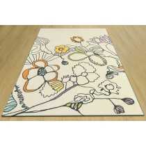 Floral Pattern Hand Tufted White Carpet,  Size- 8 X 12