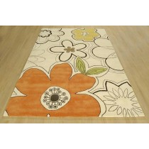Flower Pattern Hand Tufted Shaggy Floor Carpet,  Size- 8 X 12