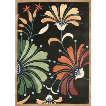 Floral Pattern Hand Tufted Black Carpet,  Size- 8 X 12