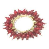 golden with red colour beaded napkin ring