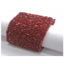 Red Tubular Beaded Napkin Rings