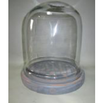 Oval Shaped Glass Cover With White MDF Base Candle Holder  Size - DIA -17.5X17.5X23 cms