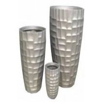 Gloss Mosaic Tall Round 80 cm Fiber Glass Planter