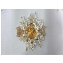 Golden flower with silver leaf napkin ring
