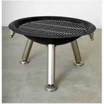 "28"" Round Black Iron Bowl With Inner Iron Grill Fire Pit"