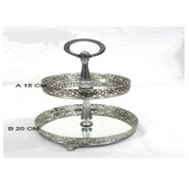 2 set risers decorative  design nickel tray