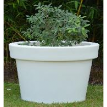 Small Circum White Marble Planter With CFL Lights