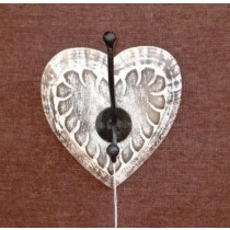 Burnt White Antique Heart Wall Hook Mango Wood