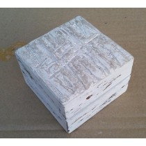 Hand Carved Whitewashed Wooden Box