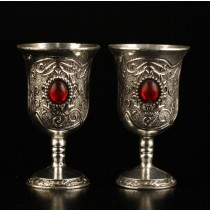 Silver Finish Inlay Ruby Goblet Set of 4 Pcs
