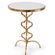 Accent table with white marble, size 40.5x40.5x56 CM