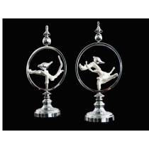 Alloy twin bird and circular ring decor