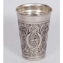 """9'' x 7""""Aluminium Silver Round Shape Embossed Vase"""