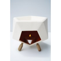 Angular Ceramic Oil Burner with 3 Wooden Legs - Large Size