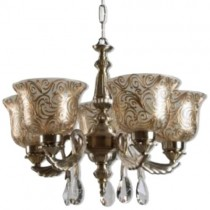 Antique Brass 5 Light With Crystal Drop Chandelier