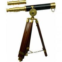 Antique Brass Finish Wooden Telescope