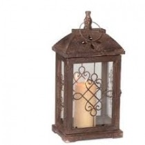 Antique Brown Wood Lantern, 16.5 in.