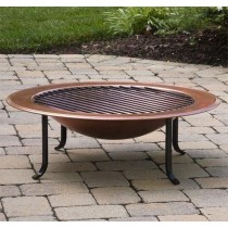 "20""Antique Copper Round Bowl With Iron Stand Fire Pit"