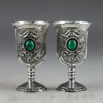 Antique Silver Finish Inlaid Turquoise Goblet Set of 2 Pcs