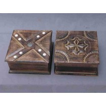 "Antique Wooden Decorative Design Box 5'' x 5"""
