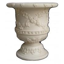 Artificial White Sandstone Floral Design Flowerpot