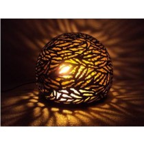 Ball  Lamp with zebra etching- Small size