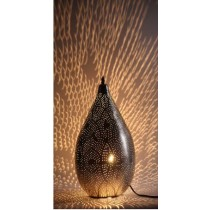 Balloon Shaped Pierced Metal Hanging Lamp With Floral Design