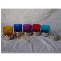 Base design glass with metal votive size-4 X 4