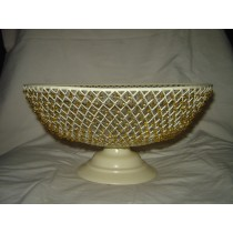 "Beaded Metal Weave Decorative Basket Bowl (10'' x 8"")"