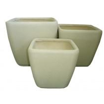 Beige Color Fiber Stone Pots Set of 3 Pcs