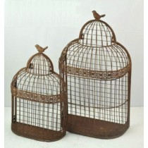 Set Of 2 Brown Metal Bird Cage Design Wall Shelf
