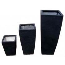Black 24 Inch Height Fiberglass Planter