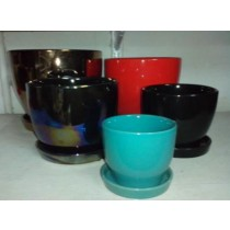 Black Color Ceramic Pot With Saucer
