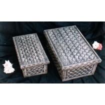 """Black Color Over Decorative Cream Work Wooden Box(18'' x 10'' x 6"""")"""
