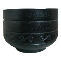 Black Finish 14 Inch Fiberglass Round Planter