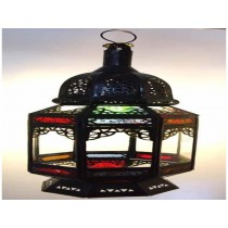 Black finish  multicolored  Iron with glass lantern size-24""