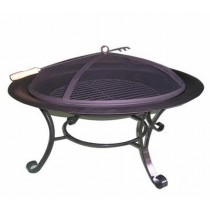 Black Iron Round Bowl With Iron Tool Fire Pit