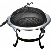 Iron Bowl With Iron Stand/Tools & Black Net Cover Fire Pit