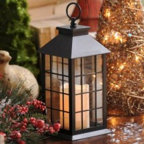 Black Lantern with LED Candle