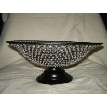 "Beaded Metal Weave Decorative Black Basket Bowl (10'' x 7"")"