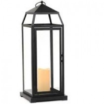 Black Metal Lantern with LED Candle, 22.5 in