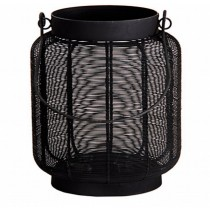"10'' x 7"" Black Hanging Metal Lantern Candle Holder"