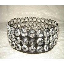 "Round Black Metal With Crystal Beads Candle Holder (3 x 6"")"