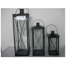 Black rectangular Iron with glass lantern  size-16""