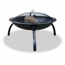 "26"" Black Portable Steel Fire Pit With Black Finish"