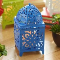 Blue Bright Metal Lantern with LED Candle