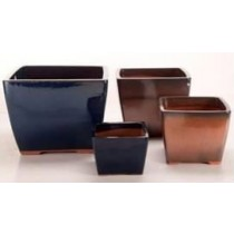 Blue Height 13'' Ceramic Glazed Planter