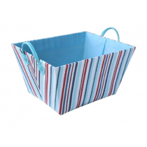 Blue with Red Stripes Laundry Basket