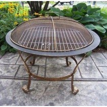 Brass Metal With Golden Finish Net Fire Pit With Iron Single Gerett