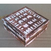 Brown Wooden Box Decorative Design Whitewashed(5'' x 5'' x 2.5'')